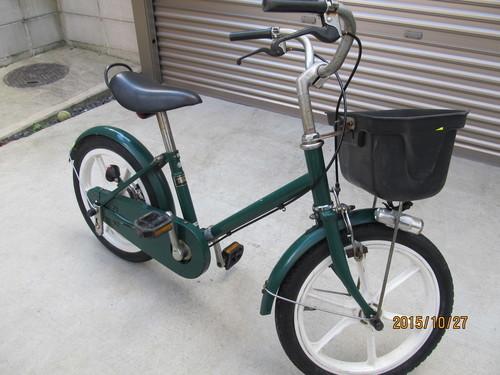 終了)子供 幼児用自転車 無印 16型グリーン <取りに来て