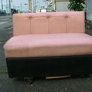 中古喫茶・キャンピングカー向きソファ合皮2P ピンク/黒 …