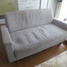 2人掛けのソファー ホワイト・グレーの画像