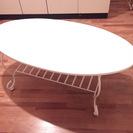猫脚プリンセス仕様 MDFコーヒーテーブル 収納ラック付き 白家具