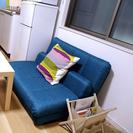 ベッド、ソファベッド、掛け布団、冷蔵庫、キッチンツール等合計20万円分一式の画像