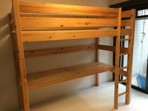 早い者勝ち〜無印良品 パイン材ロフトベッド (おさる) 京都のベッド