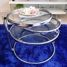 【取引完了済】リビングテーブル 三段 丸ガラス  サイドテーブルにも