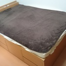 収納付きセミダブルベッド 折り畳み式スプリングマット付き