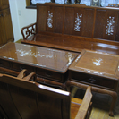 高級天然木 ソファー テーブル 木彫