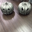 ハロウィンに! 瓦で出来たかぼちゃの置物 灯篭 2個セット キャ...