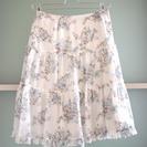 【美品】L'EST ROSE レストローズ 青バラ柄ティアードスカート