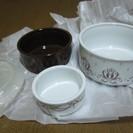 保存やレンジ対応のスリーサイズのカップ皿新品