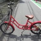 【本日中の方4500円】赤いミニ自転車。6段、ライト、カゴ付き