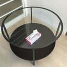 丸いガラステーブル(黒)