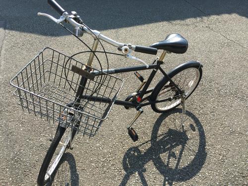 無印良品☆自転車 20型 3段ギア 黒色 カゴと鍵付きの