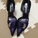 【値引き!!】パーティ用ゴージャスミュール(紫)