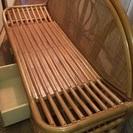 籐の家具 ソファ テーブル シングルイス×2