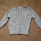 レース編みのような長袖カーディガン(薄グレー?) 中古