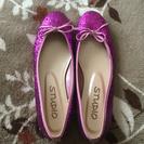 銀座ワシントンstudio☆キラキラピンクラメ☆ペタンコ靴☆LL