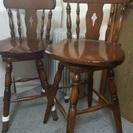 カリモクのカウンター 回転 木製 椅子 2脚