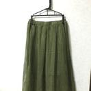 カーキ ミモレ丈スカート
