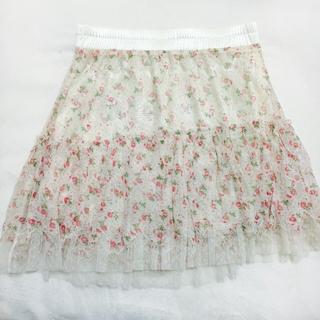 花柄 レースミニスカート