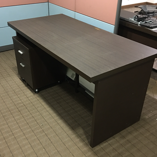 木目調オフィスデスク 引き出し付きサイドBOXテーブルセット