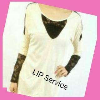【lip  service】レース切替カットソー