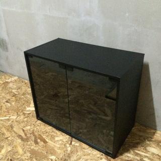 LC100107 ガラス扉付き小型テレビ台  ブラック
