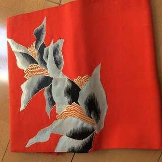◆あげます◆名古屋帯 木蓮 朱色