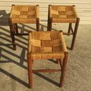 紐編みの和風の椅子3個セット