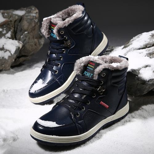 新品!2016年冬 メンズ 防滑 防寒 カジュアル スニーカー 本革 レザー 冬 暖かい ファー