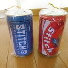 スティッチ★缶ジュース型貯金箱/圧縮タオル 赤青セット