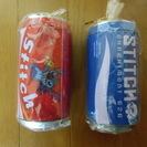 値下げ⇓ スティッチ★缶ジュース型貯金箱/圧縮タオル 赤青セット1⃣ - 福岡市