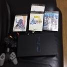 PS2本体、コントローラ2つとソフト3つ