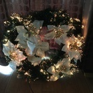 クリスマス 光るリース 光の色が変わります!40cm