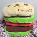 [値下げ]リラックマ、ハンバーガー型クッション