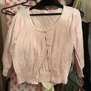 ピンク 花刺繍 カーディガン
