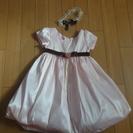 ベビードレス ピンク 95サイズ コサージュ、ヘッドアクセ付き