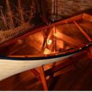 ガラス天然木 ボートテーブル