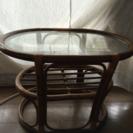 used 藤製 ガラステーブル