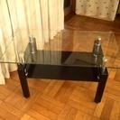 モダンなローテーブル(ガラス+スチール)