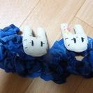 ハンドメイド ウサギのマスコット付きゴム