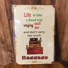 ◆ブリキ看板◆未使用 美品 Baggage アメリカン雑貨 トランク