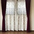 サンゲツ 遮光カーテン③幅98×2枚 (レースに1カ所破れあり)