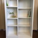 【お譲り完了】スライド式本棚 書棚 ブックシェルフ 木製 ホワイト