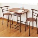テーブル、チェアー3点セット(組み立て済み)カラー:ブラウン