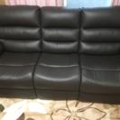 値下げ 3人用電動本革リクライニングソファー