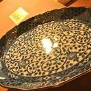 未使用品☆三洋陶器 龍峰窯 染付 和皿大皿