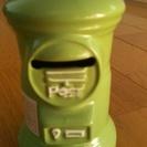 郵便局ポスト貯金箱 珍しいウグイス色