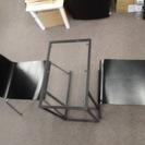 【イケヤ購入】ガラステーブル&黒椅子セット - 大阪市