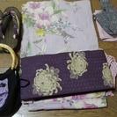 ★大幅値下げ★浴衣、帯、下駄、帯留めひも、バッグセット