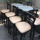 [無料]スタンドテーブル×2 椅子×6