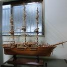 ★大きな帆船模型 木製 リアルで状態は良好です。 長さ約1350m...